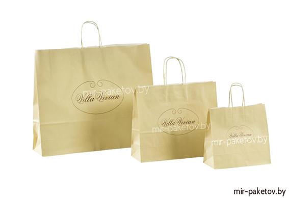 пакеты бумажные крафт с бумажными ручками с логотипом